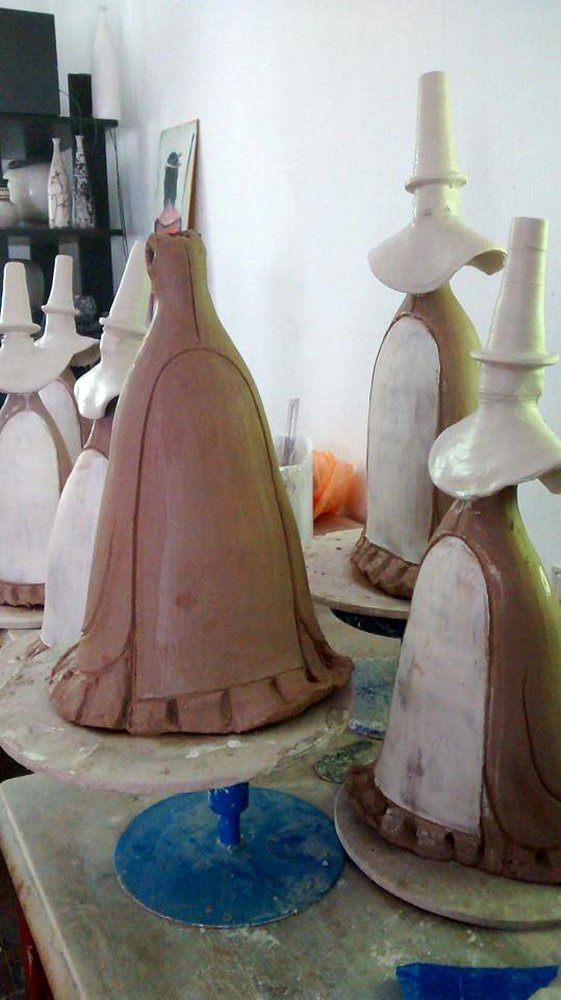 Making of welsh ladies - adding the wheel thrown hat and shawl (unfired)