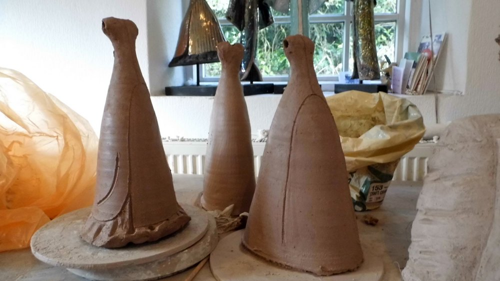 Making of welsh ladies - the wheel thrown torso and skirt (unfired)