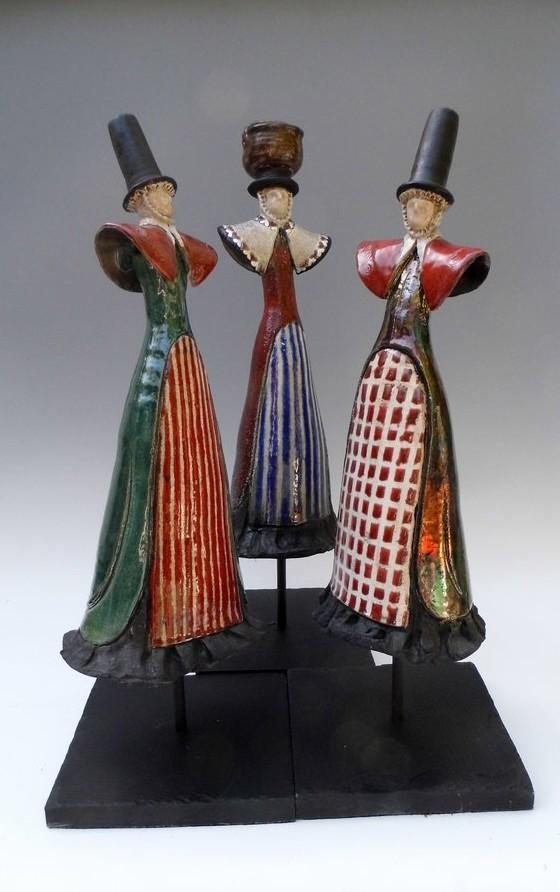Raku Welsh ladies varying patterns
