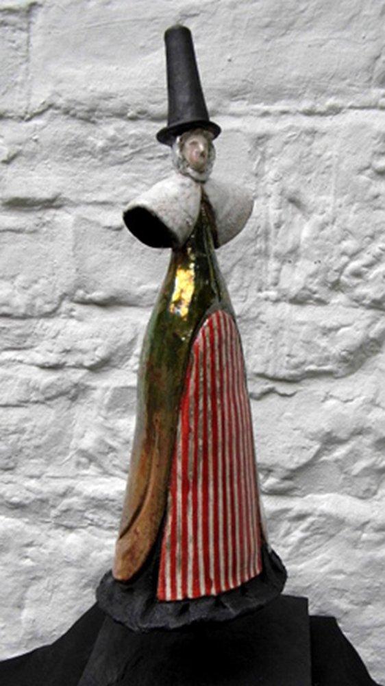 Raku welsh lady red stripe apron gold skirt