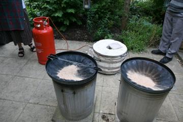 Raku Firing -trapping the smoke in reduction chamber