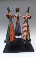 Raku Welsh ladies varying patterns