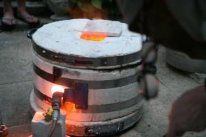 Raku Firing - Checking the glaze