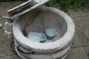 Setting up the Raku kiln - bisque fired glazed pots